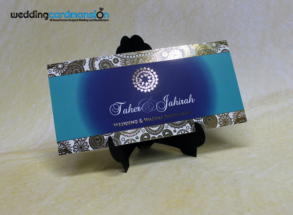 Blue designed custom foil wedding invitation. FC68 - Wedding Card Mansion