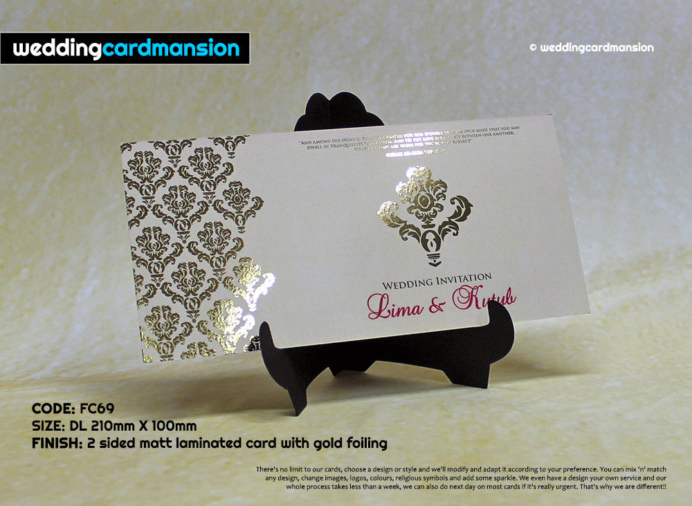 Cream & gold custom foil floral wedding invitation. FC69 - Wedding Card Mansion