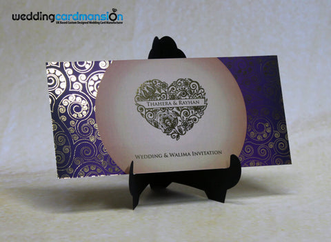 Purple & cream heart design custom foil wedding invitation. FC89 - Wedding Card Mansion