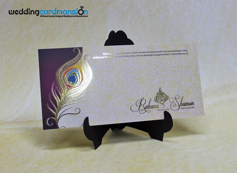 Purple & cream peacock design custom foil wedding invitation. FC90 - Wedding Card Mansion