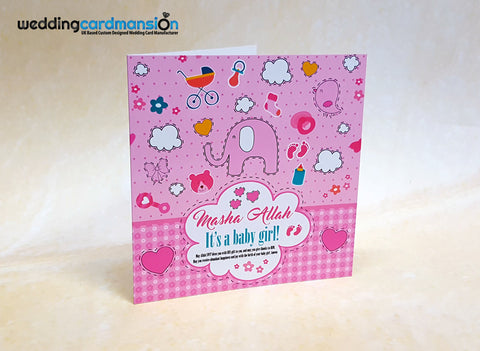 Personalise greeting cards uk wedding card mansion masha allah its a girl greeting card m4hsunfo