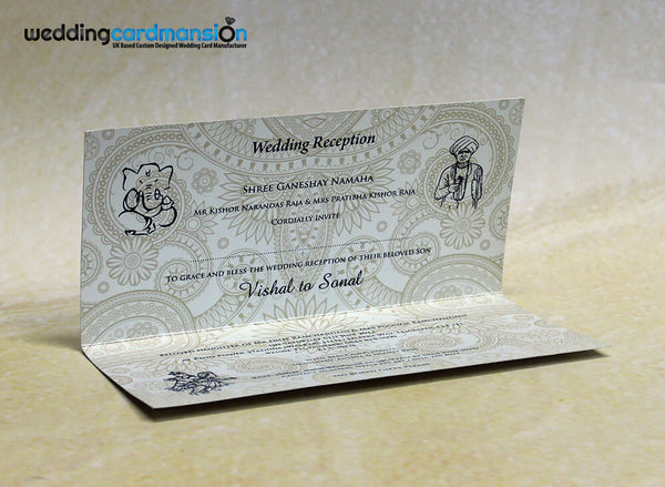 Purple folded Hindu wedding invitation. HC007