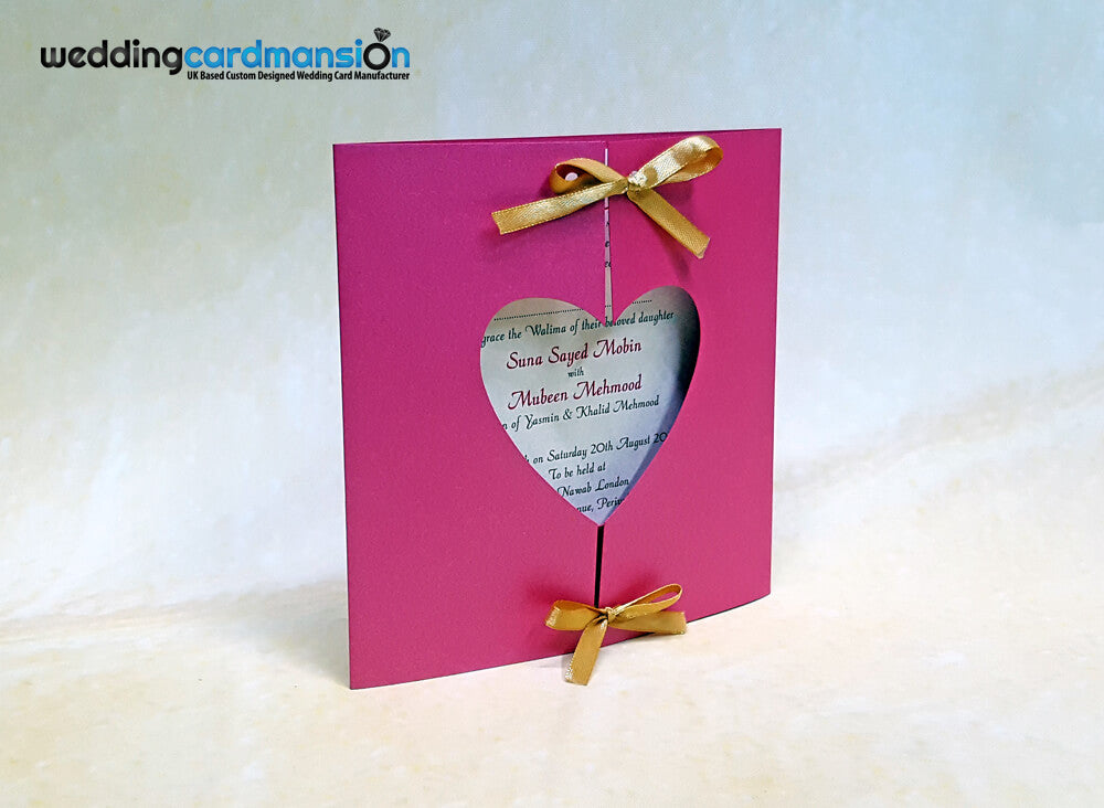 Pink heart shape gate fold wedding invitation. PC02
