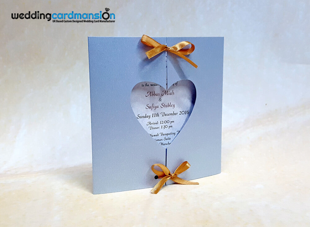 Silver heart shape gate fold wedding invitation. PC03