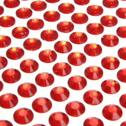 6mm Red Self Adhesive Rhinestones - Wedding Card Mansion