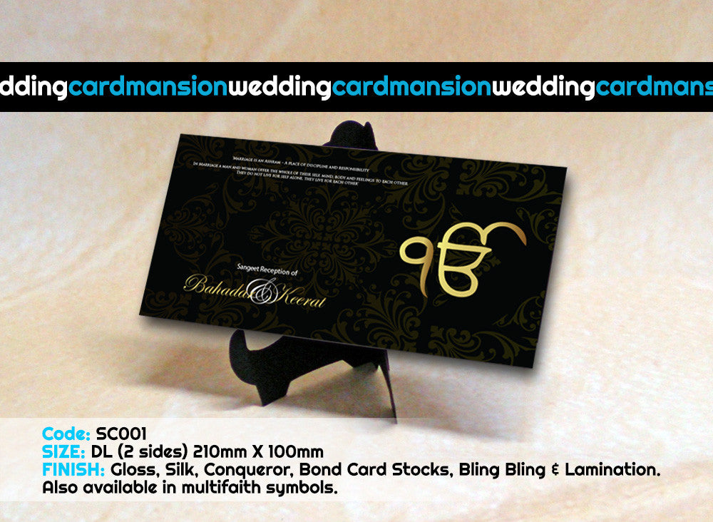 Black & Gold Sikh Ek Onkar wedding invitation. SC001 - Wedding Card Mansion