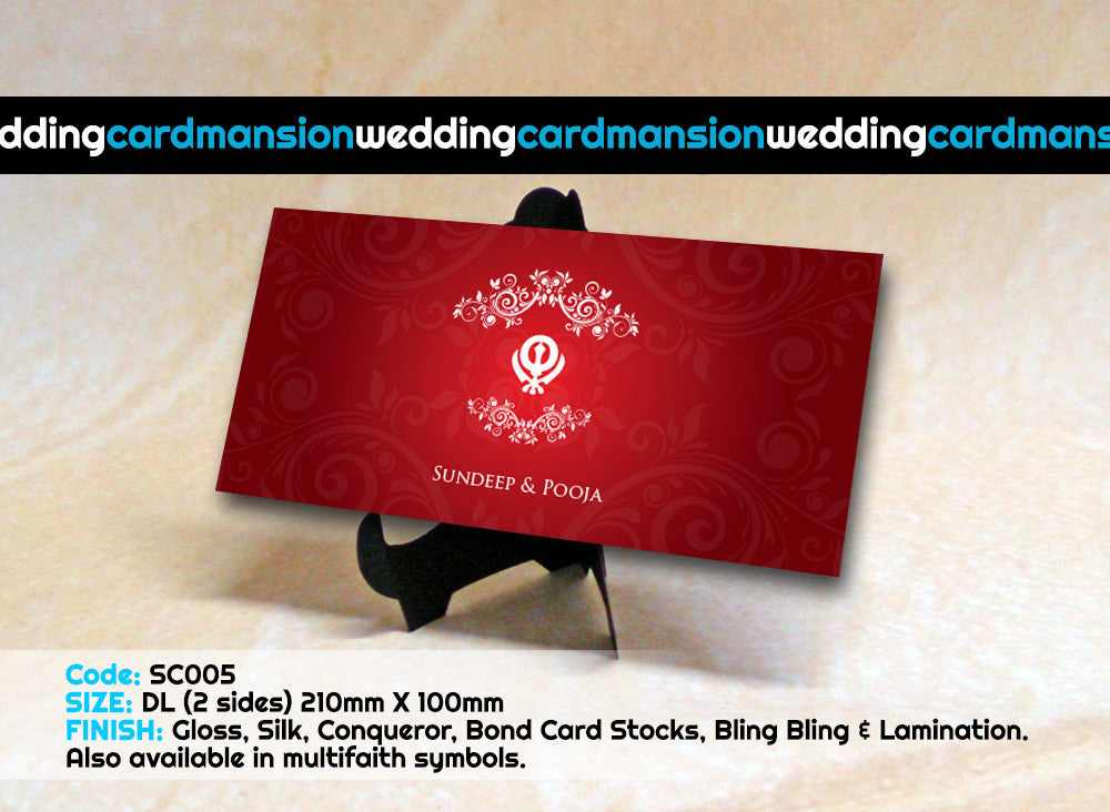 Red & floral designed single piece Sikh wedding invitation SC005