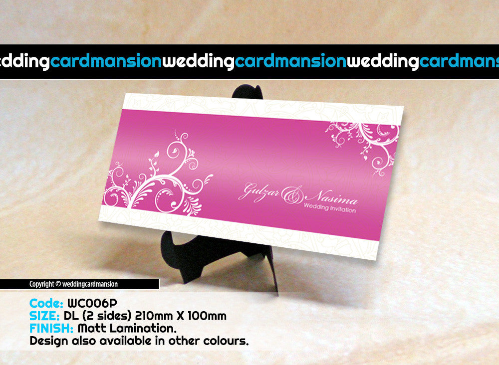 Pink with white floral wedding invitation. WC006P - Wedding Card Mansion