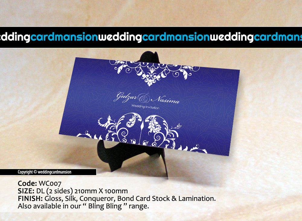 Blue with white floral wedding invitation. WC007 - Wedding Card Mansion