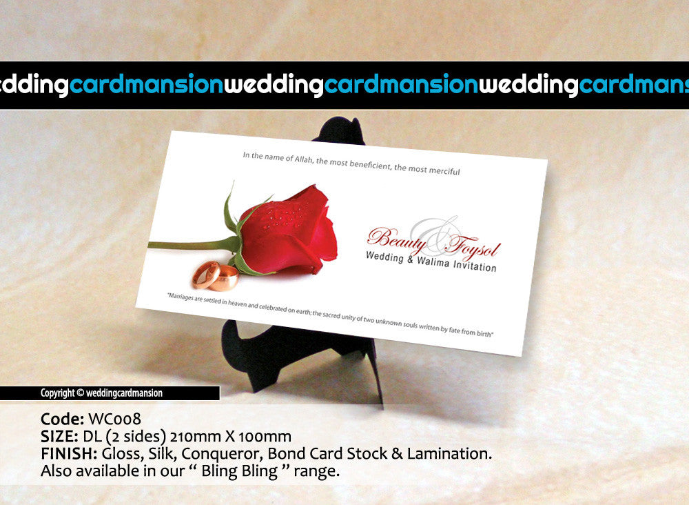 White with red rose wedding invitation. WC008