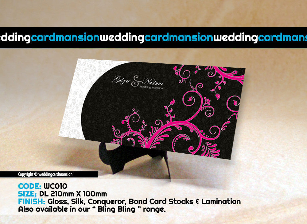 Black & white with pink floral wedding invitation. WC010 - Wedding Card Mansion