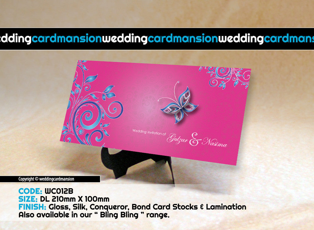 Pink with blue floral butterfly wedding invitation. WC012B - Wedding Card Mansion