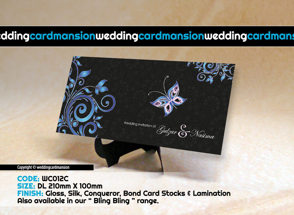 Butterfly floral wedding invitation. WC012C - Wedding Card Mansion