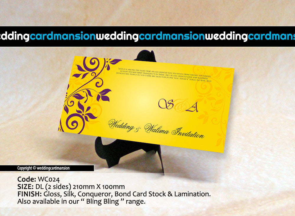 Yellow with purple floral wedding invitation. WC024