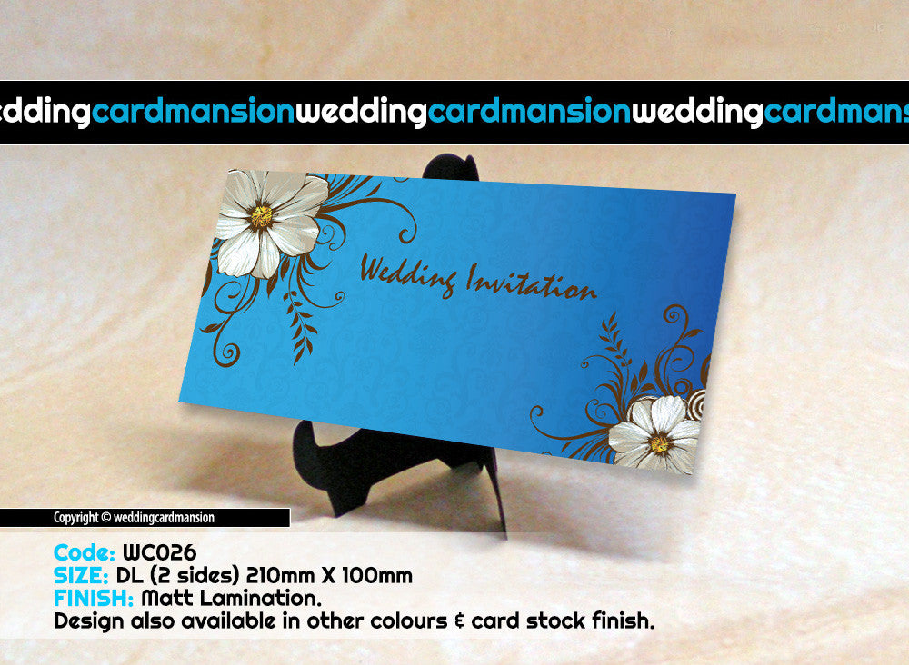 Blue with white flower wedding invitation. WC026 - Wedding Card Mansion