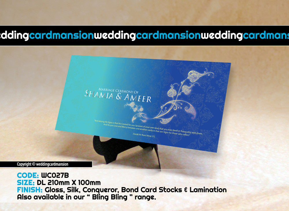 Blue with white floral wedding invitation. WC027B - Wedding Card Mansion