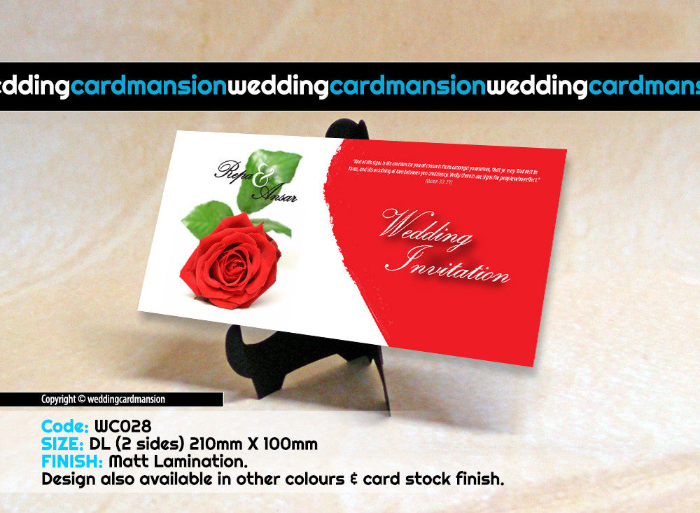 Red & white rose wedding invitation. WC028