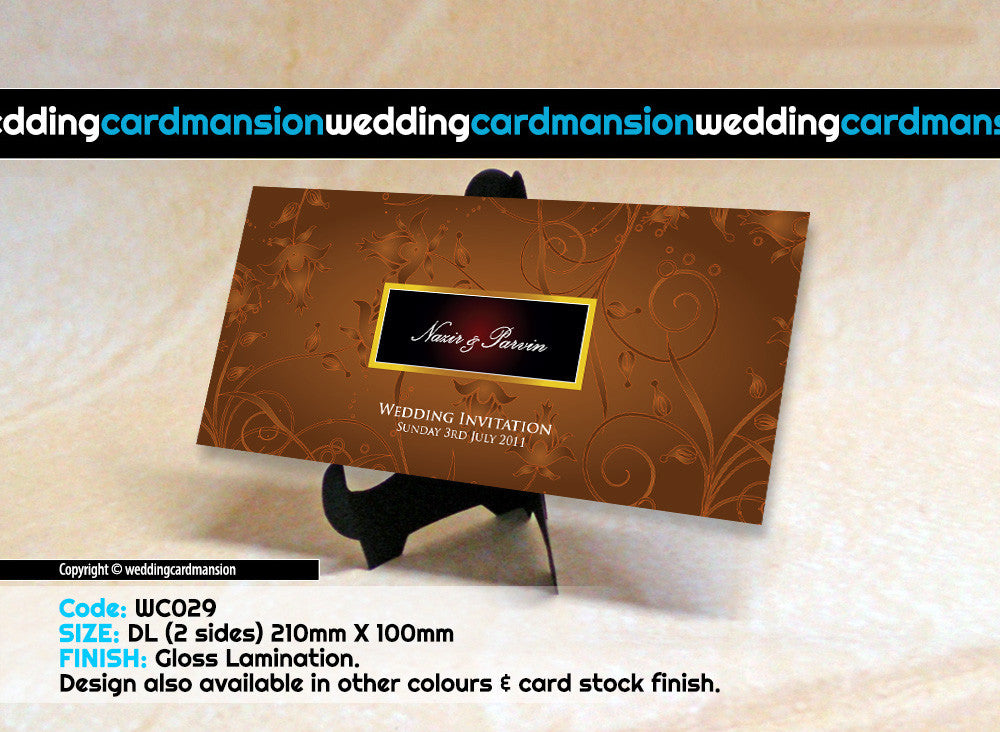 Brown floral wedding invitation. WC029 - Wedding Card Mansion
