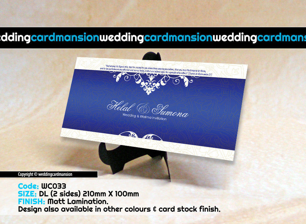 Blue & white floral wedding invitation. WC033 - Wedding Card Mansion