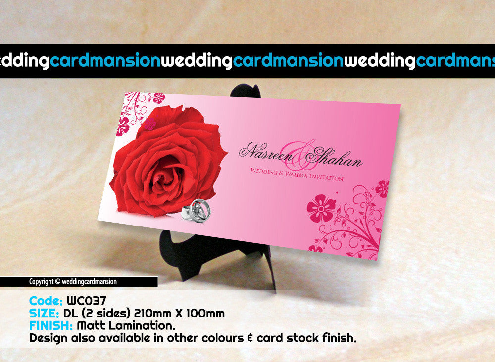 Pink & red rose wedding invitation. WC037 - Wedding Card Mansion