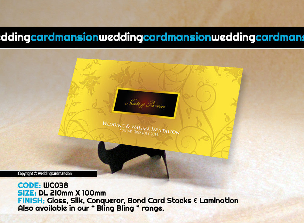 Yellow floral pattern wedding invitation. WC038