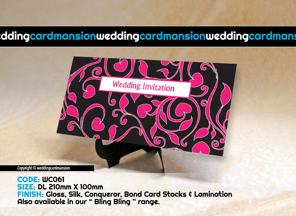Black & pink pattern wedding invitation. WC061 - Wedding Card Mansion