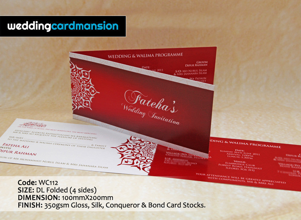 Red & white design folded wedding invitation. WC112