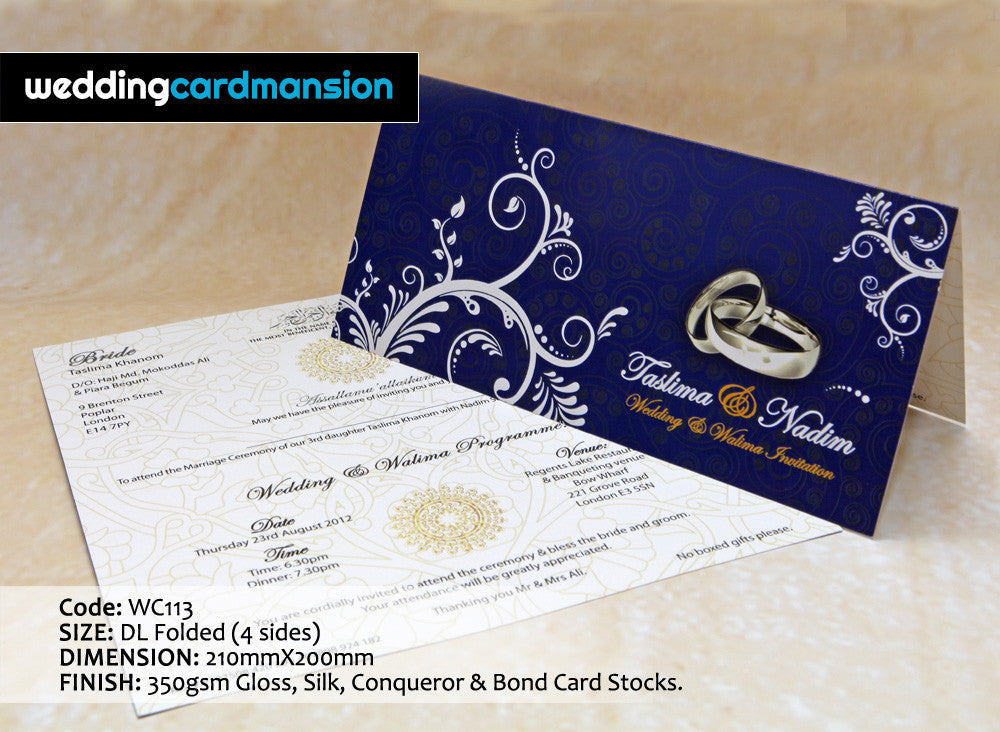 Blue & white floral ring folded wedding invitation. WC113 - Wedding Card Mansion