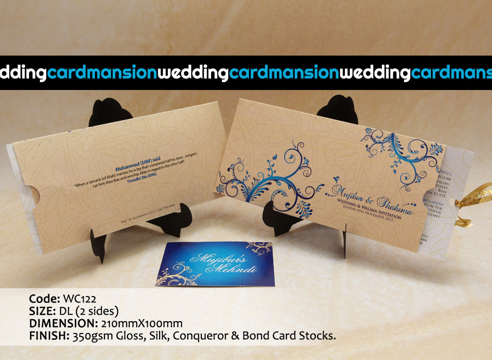 Cream with blue floral pattern wallet style wedding invitation with insert. WC122 - Wedding Card Mansion