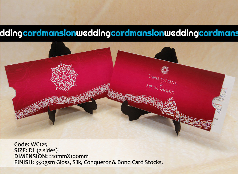Red & White design wallet style wedding invitation with insert. WC125