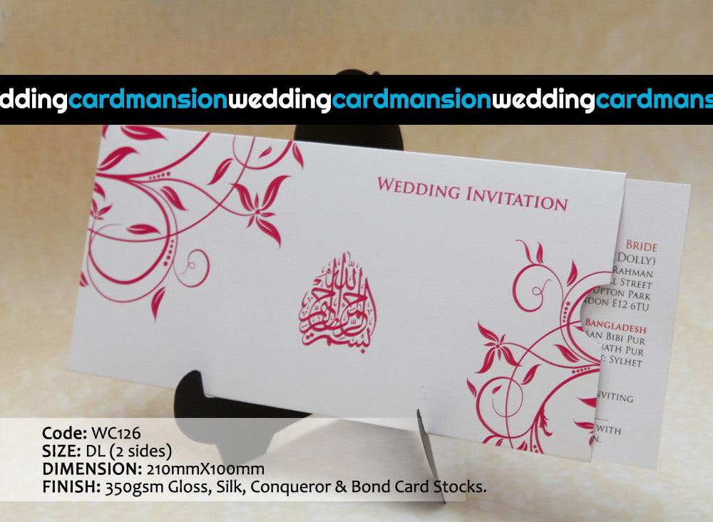 White with pink floral design wallet style wedding invitation with ...