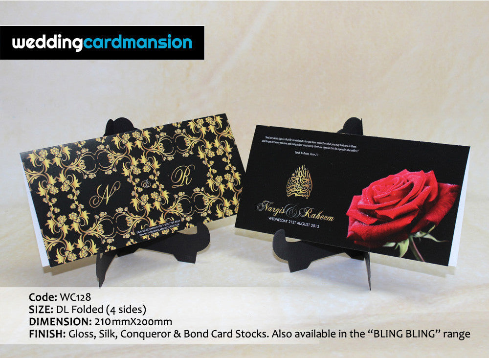 Black & red rose folded wedding invitation. WC128 - Wedding Card Mansion