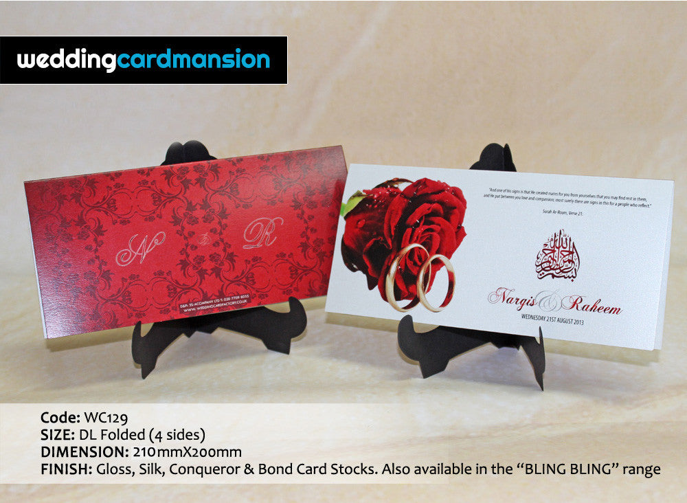 White & red rose folded wedding invitation. WC129