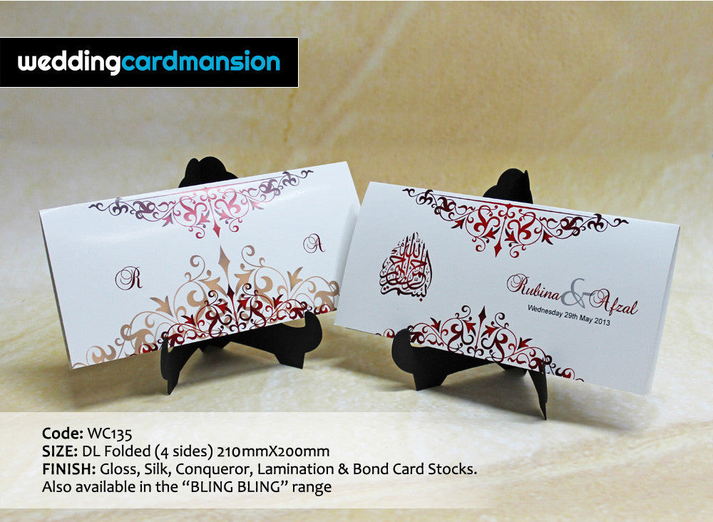 White & red floral design folded wedding invitation. WC135
