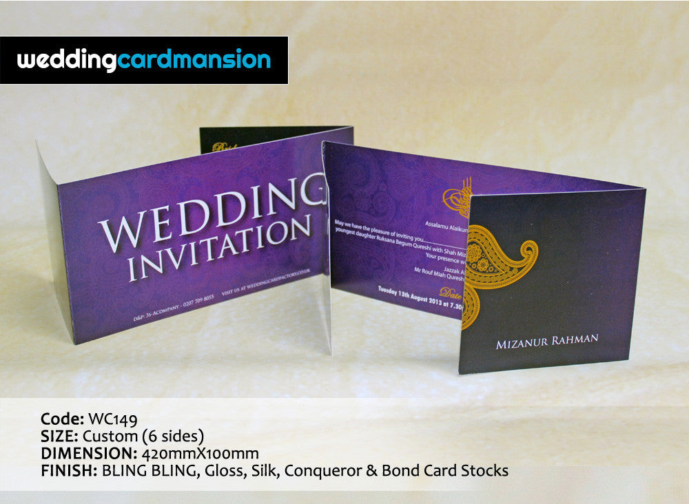 Purple paisley design folded wedding invitation. WC149