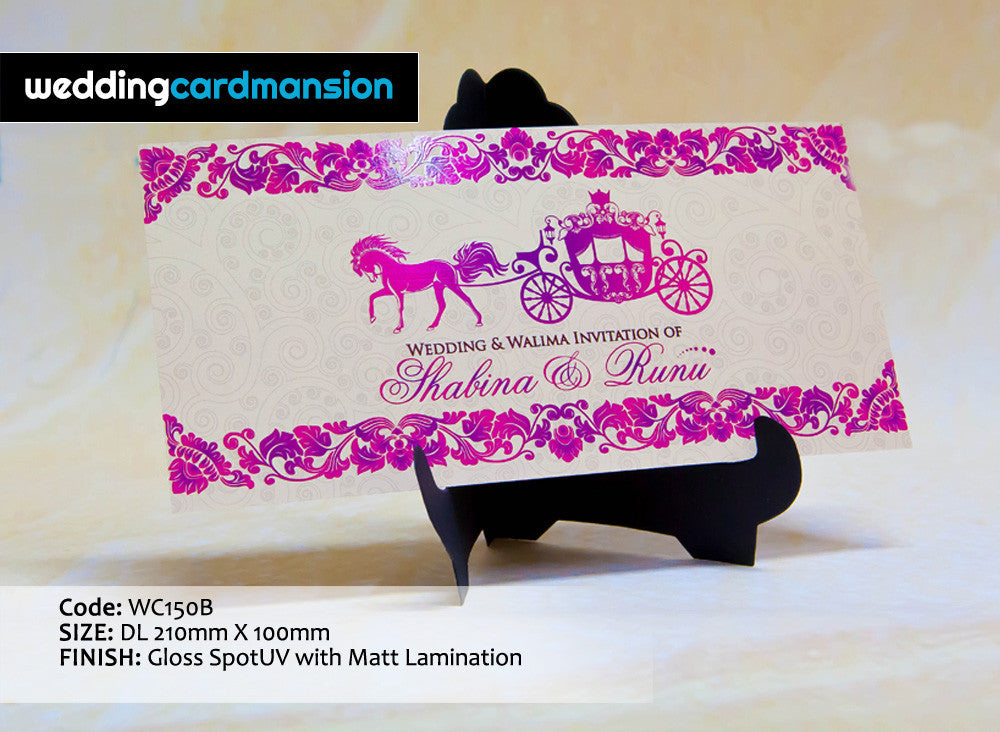Cream & pink horse carriage wedding invitation. WC150B - Wedding Card Mansion