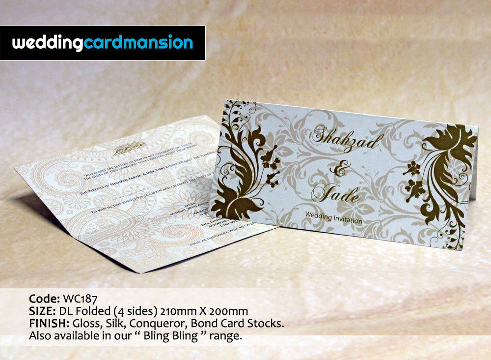 White floral design folded wedding invitation. WC187