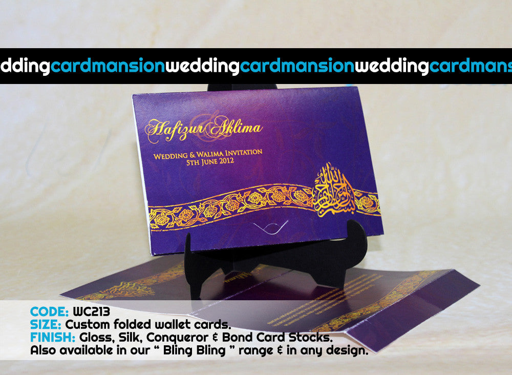 Purple with golden design wallet wedding invitation. WC213
