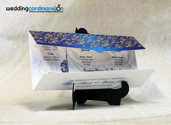 Die cut blue & white floral pattern folded wedding invitation. WC218 - Wedding Card Mansion