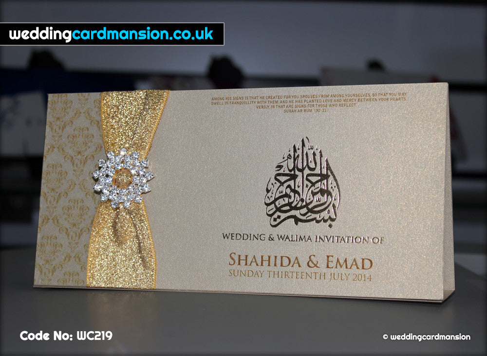 Gold folded wedding invitation with foiling, ribbon and diamanté slider. WC219 - Wedding Card Mansion