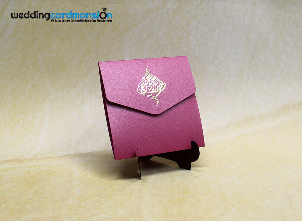 Azalea/Pink pearlescent square pocketfold wedding invitation with 1 insert.