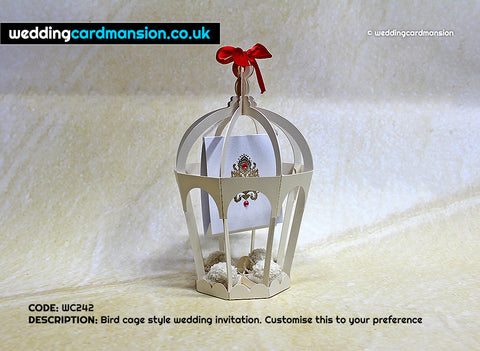 Laser cut birdcage. WC242 - Wedding Card Mansion