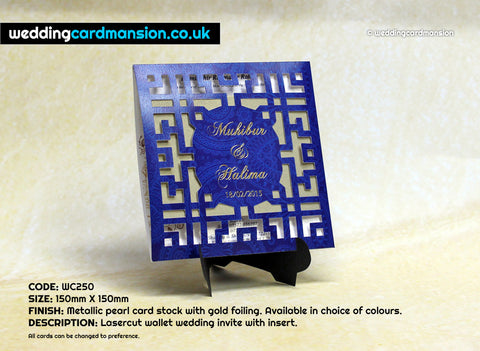 Blue square laser cut pocket wedding invitation. WC250 - Wedding Card Mansion