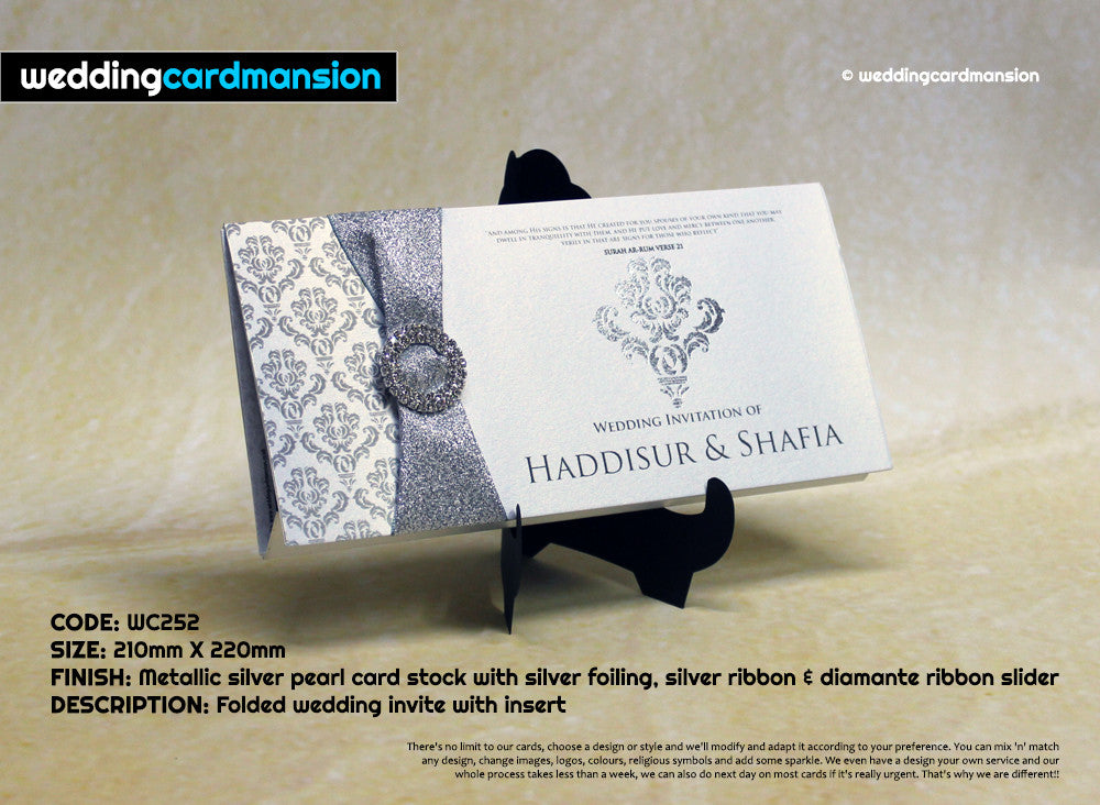 Folded wedding invitation with foiling, ribbon and diamanté slider. WC252 - Wedding Card Mansion