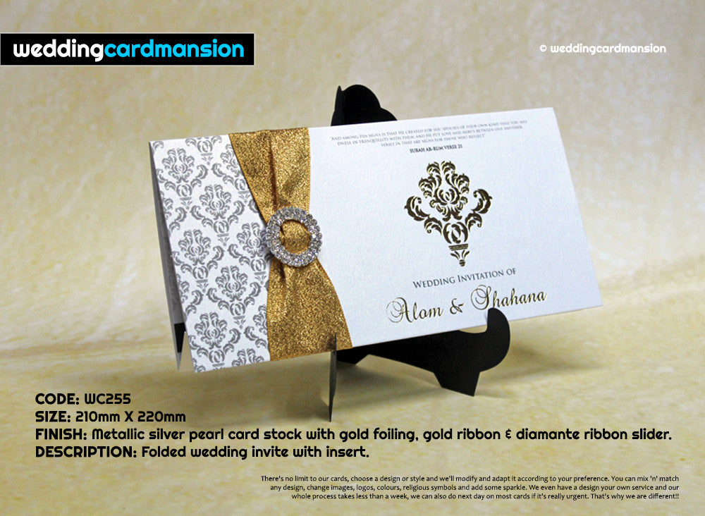 Folded wedding invitation with foiling, ribbon and diamanté slider. WC255 - Wedding Card Mansion