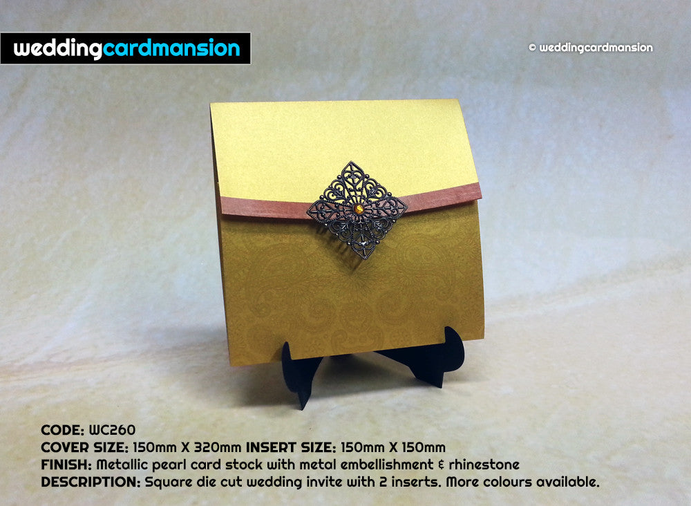 Gold square wallet with metal embellishment & rhinestone. WC260 - Wedding Card Mansion