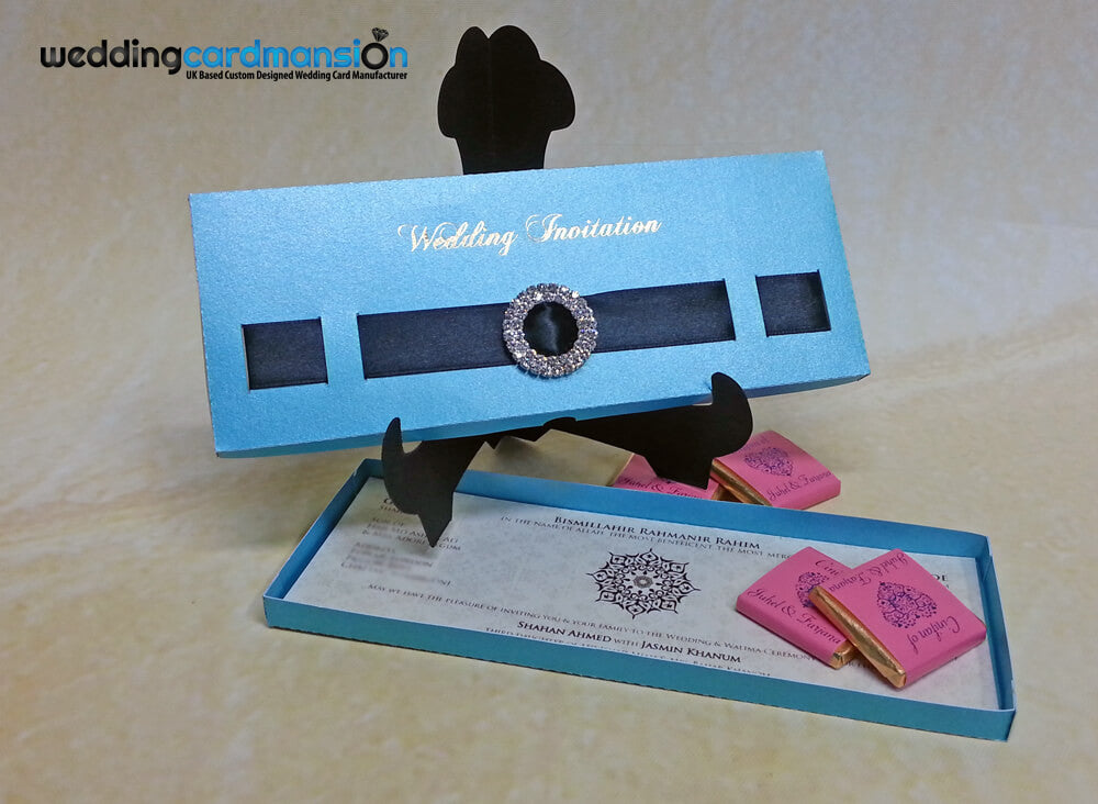 Blue laser cut box style wedding invitation. WC263 - Wedding Card Mansion