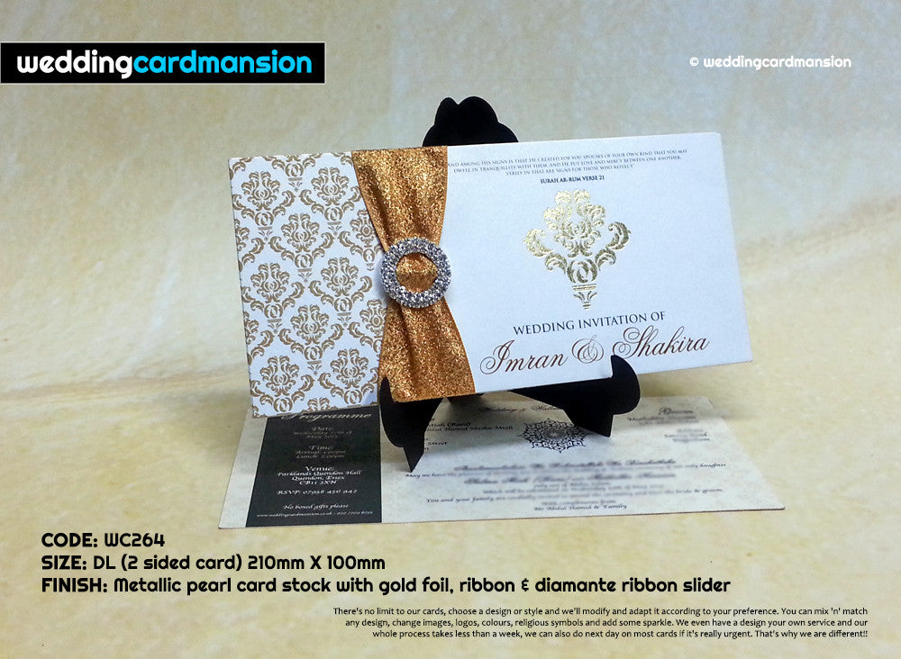 Silver & gold folded wedding invitation with foiling, ribbon and diamanté slider