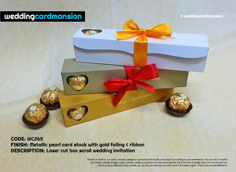 Laser cut scroll box wedding invitation with foiling & ribbon. WC265 - Wedding Card Mansion