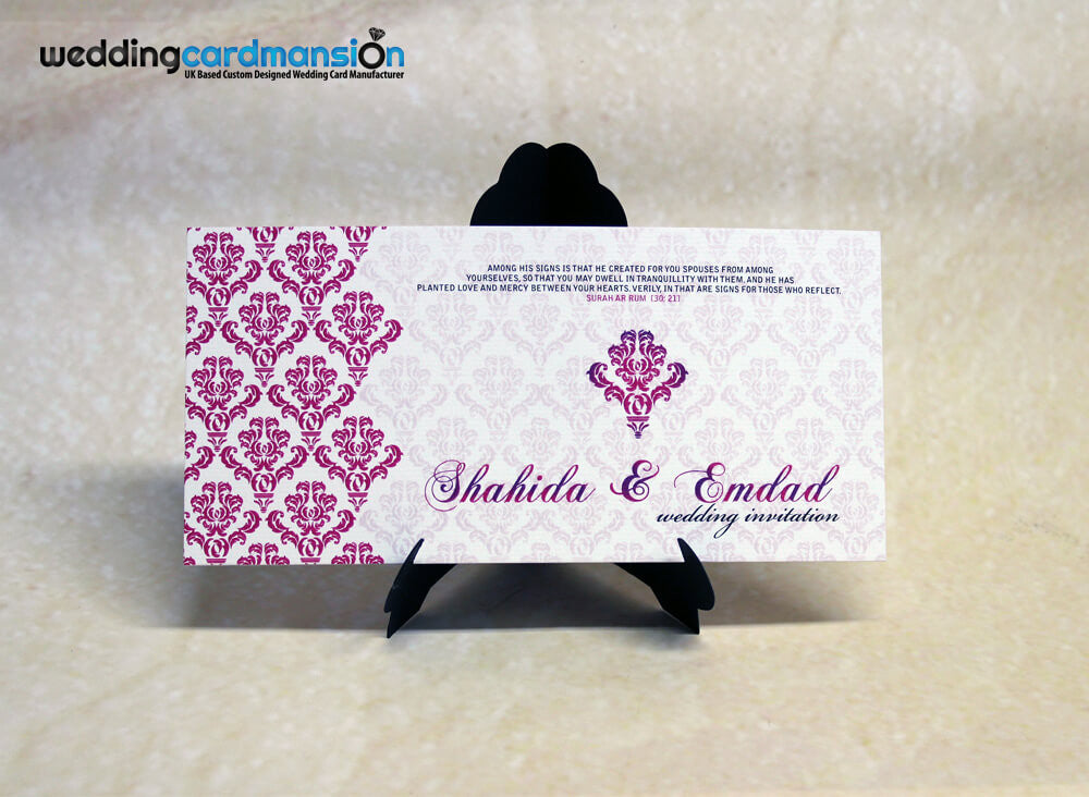 Cream & pink floral wedding invitation. WC270 - Wedding Card Mansion